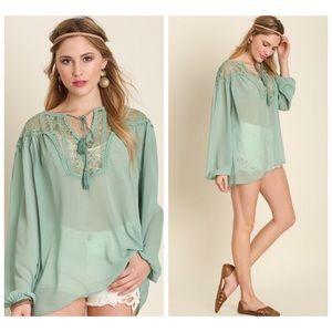 ❗️CLEARANCE❗️ Mint Lace Tunic Top S M L