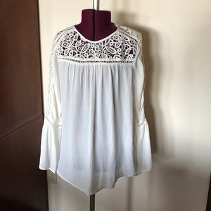 LOFT Tops - Cream Lace Romantic Blouse Top XS NWT New