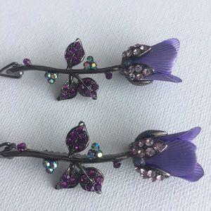 MONA LISA Accessories - 💜 NWT Beautiful Floral Rhinestone Barrettes