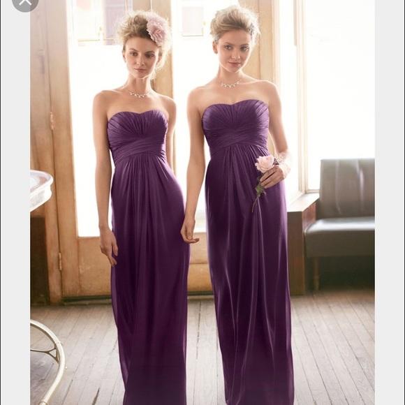 Details about  /David's Bridal Ivory And Plum Chiffon Dress Size 8