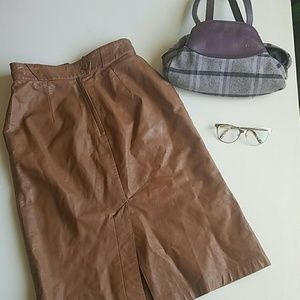 Vintage 100% Leather Brown Midi Skirt