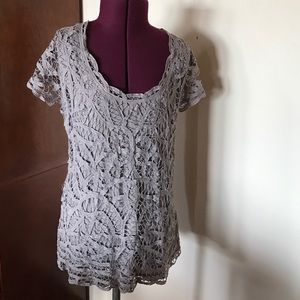 INC International Concepts Tops - INC Gray Taupe Lace T Top Shirt XL NWT New