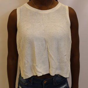 Sans Souci  Sweaters - White Crotchet Crop Top Sweater