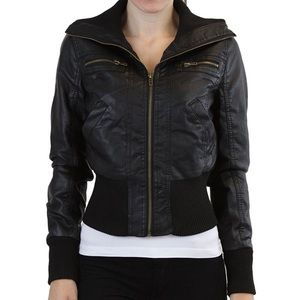 Ambiance Apparel Jackets & Blazers - Faux Leather Jacket