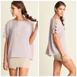 ❗️CLEARANCE❗️Gray Cut Out Sleeve Tunic Top S M L