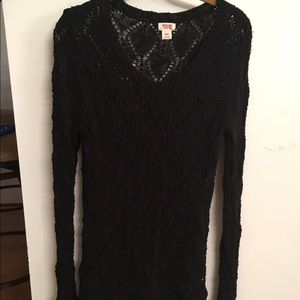 Mossimo black long crochet sweater size S