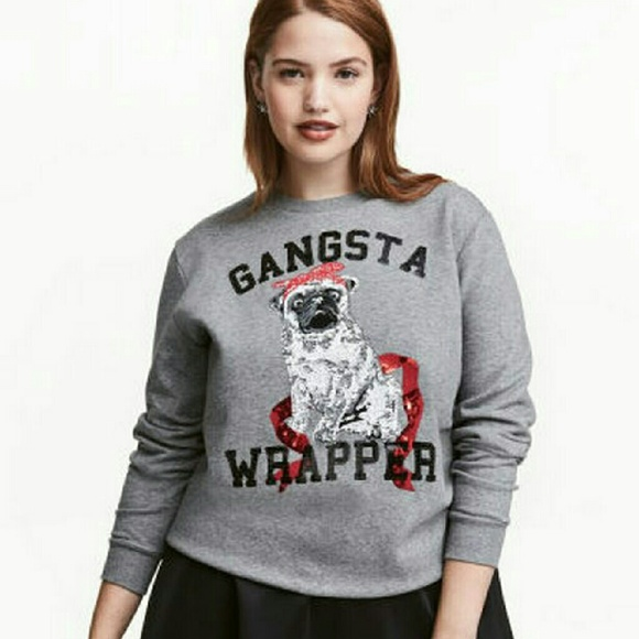 H&M pug gangsta wrapper sequin Christmas sweater