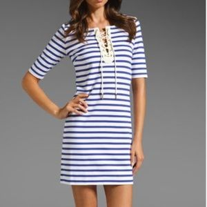 Juicy couture lace up blue striped dress!
