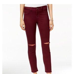 Rewash Denim - Distressed burgundy skinny jeans