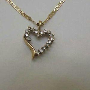 Jewelry - Estate 10k yellow  gold  .50ct diamond pendant