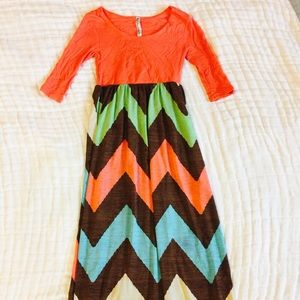 Other - Coral Chevron Maxi Dress