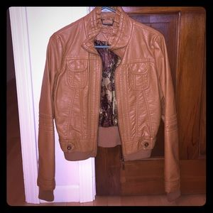 Dark tan faux leather jacket with lining