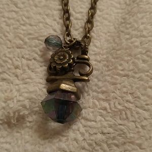 Steam Punk Crystal Bronze Look Necklace