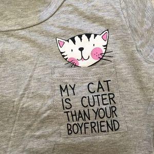 """Super Soft """"My Cat is Cuter""""Top"""
