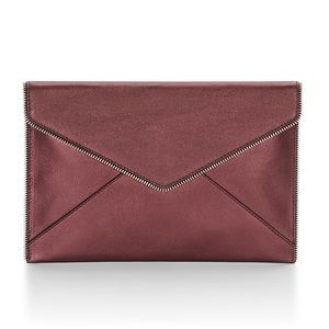 Rebecca Minkoff Handbags - Rebecca Minkoff Leo clutch in metallic cranberry!!