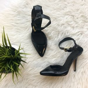 DKNY Antina Black Patent Ankle Strap Pumps