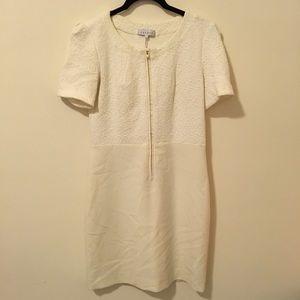 Sandro Dresses & Skirts - Sandro Cream Paneled Cotton Zipper Dress