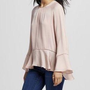 Silky, dusty-rose blouse