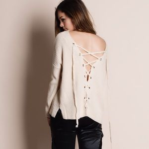 Bare Anthology Sweaters - Lace Up Back Long Sleeve Sweater Top
