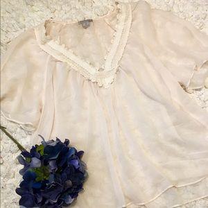 Katie K Tops - Cream sheer blouse