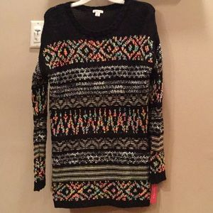 Multi color black long sweater
