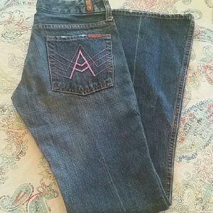 "7FAM pink ""A"" pocket jeans"