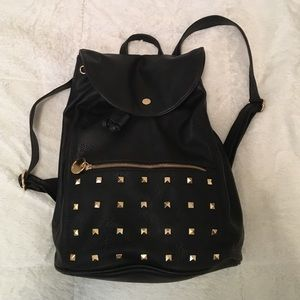 Deux Lux gold-studded black faux leather backpack
