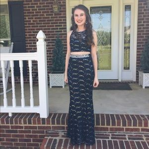 Xtraordinary Dresses & Skirts - Sequined Two Piece Navy Blue Prom Dress