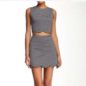 Necessary Objects Dresses & Skirts - Necessary Objects Striped Scallop Skirt