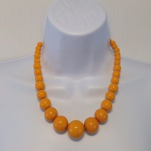 Unsigned Jewelry - Tangerine Graduated Lucite BeadAdjustable Necklace