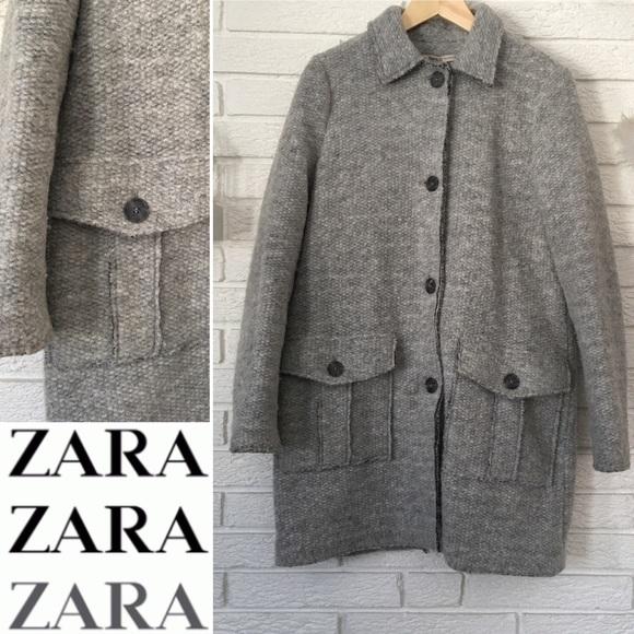NWT Zara Trafaluc outerwear Women/'s Wool Blend  Coat Gray Size S