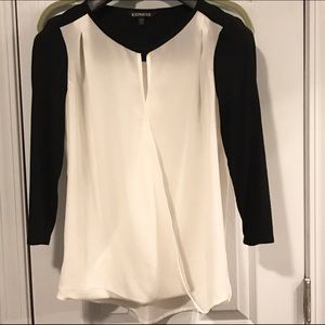 Express ivory and black top