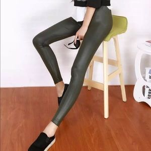 Other - Dark Green Faux leather leggings