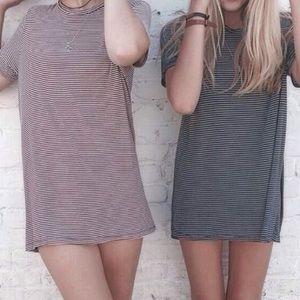 Brandy Melville black/taupe luana shirt dress