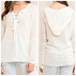 Sweaters - •LAST 4 Ivory Textured Long Sleeved Hoodie
