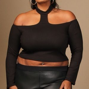 Tops - Off the Shoulder Halter Choker Crop Top