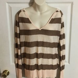 Free People Metallic Striped V Neck Sweater