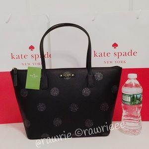 SALE New Kate Spade glitter polka dot zip tote