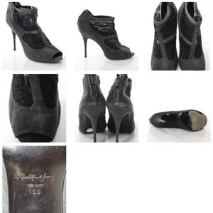Elizabeth and James Shoes - ELIZABETH AND JAMES LACE-ACCENTED PEEP-TOE BOOTIES