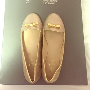 Kate Spade Gold Bow Loafers