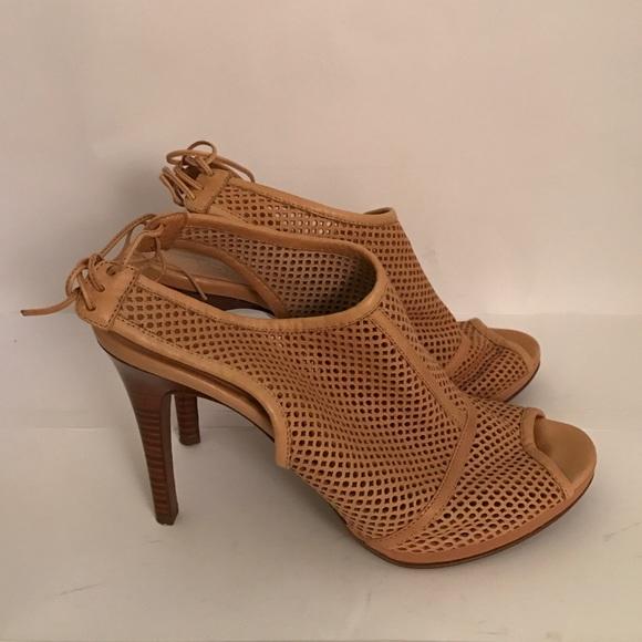 b3eca1189 J. Crew Shoes   J Crew Mesh Leather Tan Heels   Poshmark