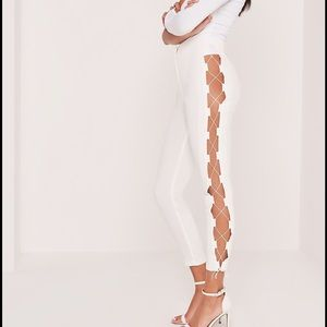 carli bybel x missguided lace up trousers white
