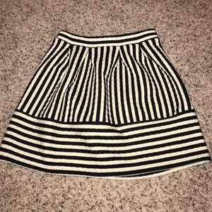 Black and off white striped skirt