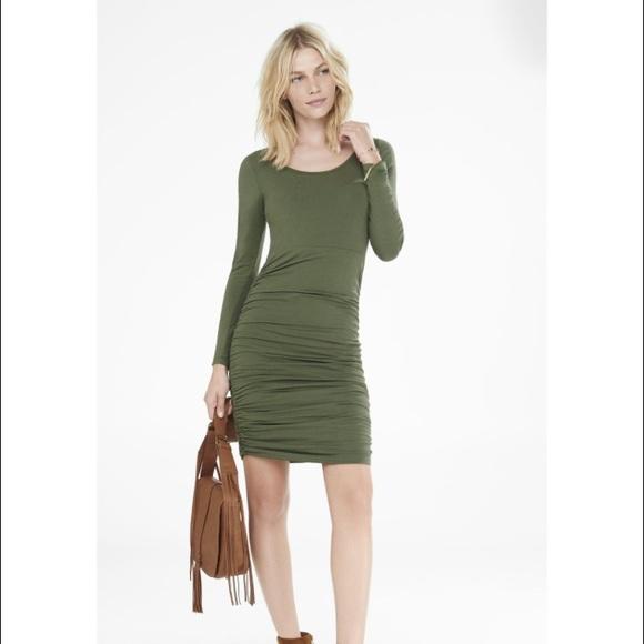 e2787168de Long sleeve green express ruched dress. Express.  M_5870952beaf030837e06a806. M_5870952d4e95a3796506ad69