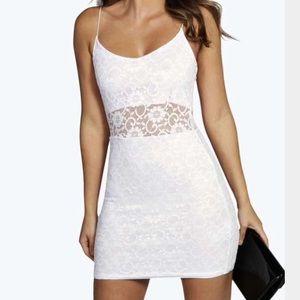 NWT boohoo white lace bodycon mini dress