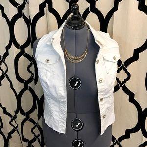 Maurice's White Crochet Back Vest
