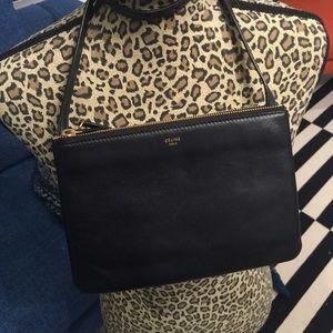 Celine trio shoulder bag in lambskin leather.