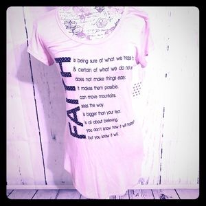 Free Kisses Tops - FREE KISSES Pink FAITH Studded Statement Tee