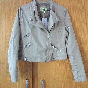 Maralyn & Me Jackets & Blazers - Maralyn & Me khaki zip front motto jacket, Medium