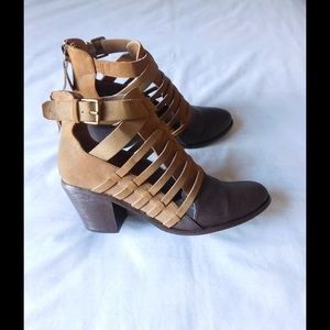 G by Guess Shoes - Chic Tan/Brown Strappy Heeled Booties  W/Buckles